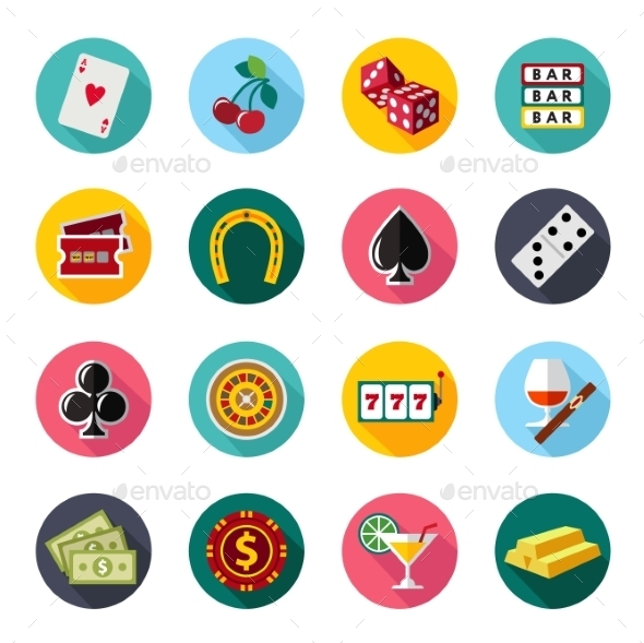 GraphicRiver Colorful Flat Vector Icons Set 10736301