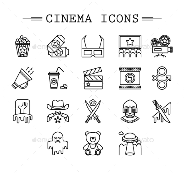 GraphicRiver Cinema Web Silhouettes Collection Vector 10736363
