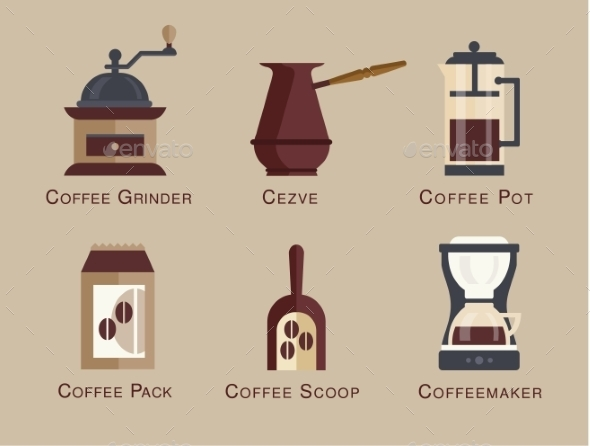 GraphicRiver Flat Modern Icons for Coffee Shop 10736373