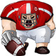 Red White Football Player Kneels and Holds Ball - GraphicRiver Item for Sale