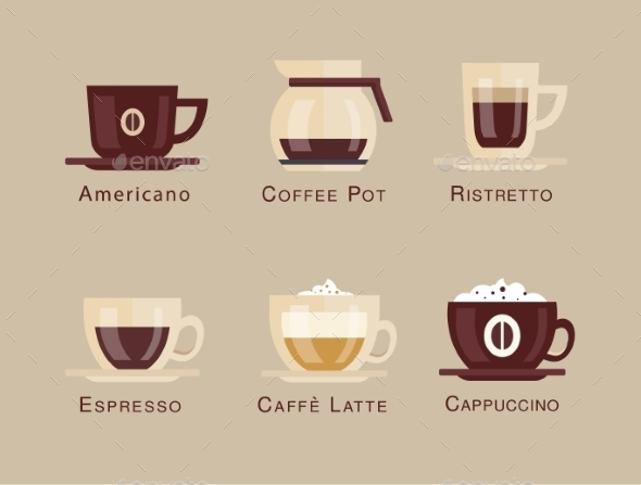 GraphicRiver Coffee Vector Icon Set Menu Beverages Types 10736378