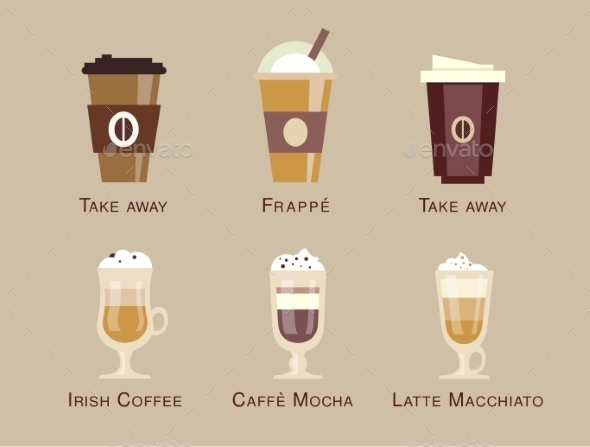 GraphicRiver Coffee Vector Icon Set Menu Beverages Types 10736380