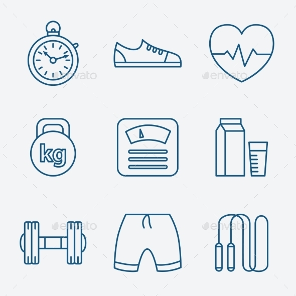 GraphicRiver Set of Outline Stroke Fitness Icons Vector Illustr 10736425