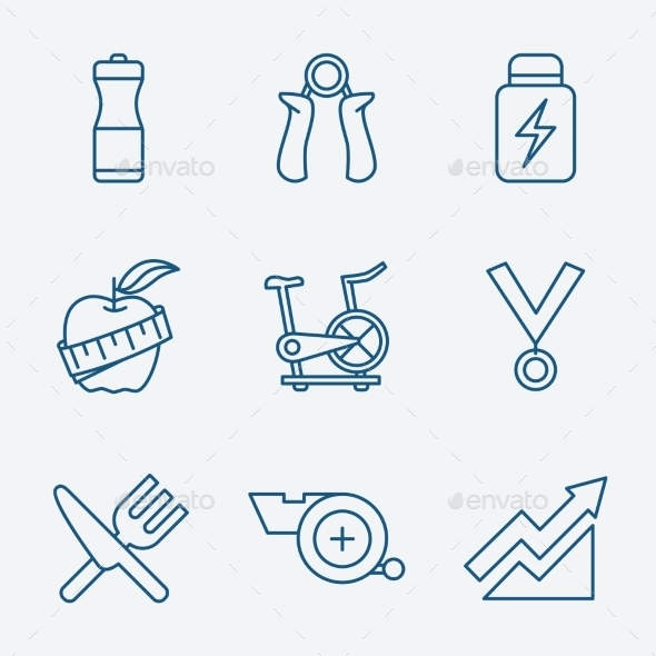 GraphicRiver Set of Outline Stroke Fitness Icons Vector Illustr 10736426