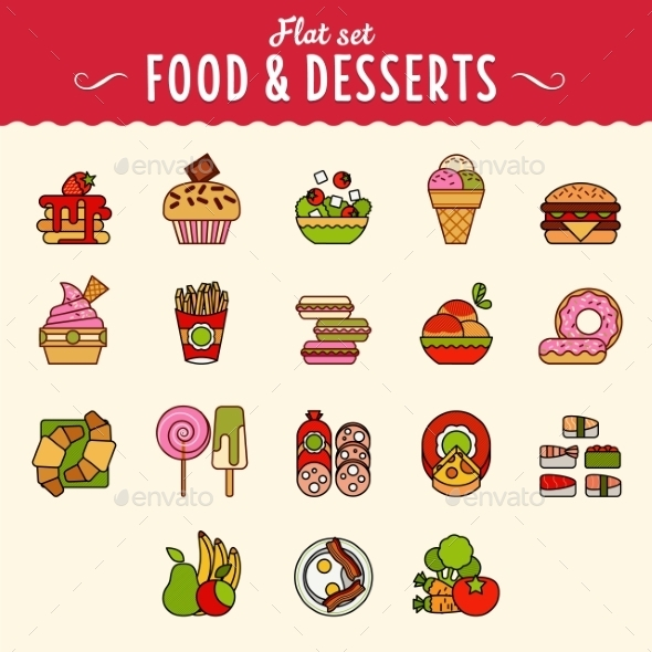 GraphicRiver Collection of Food Icons in Flat Design Style 10736454