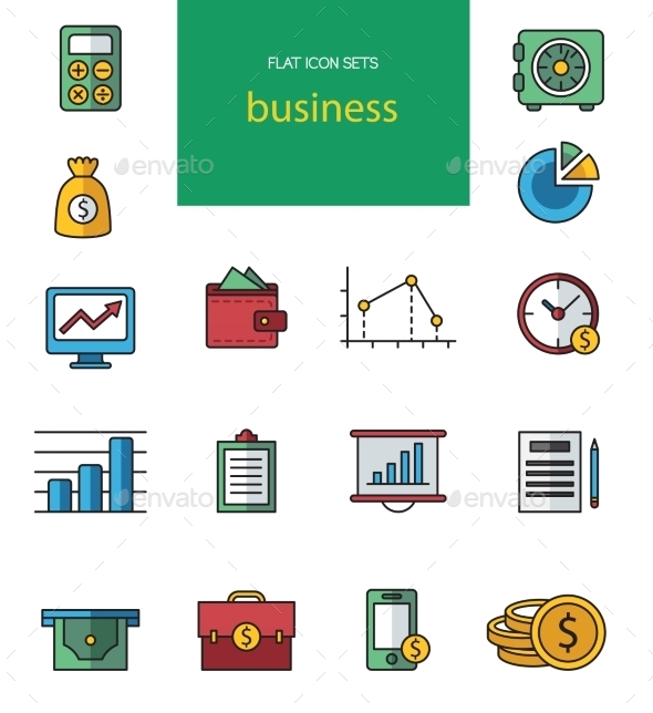 GraphicRiver Vector Flat Web Icons on SEO Business Shopping 10736509
