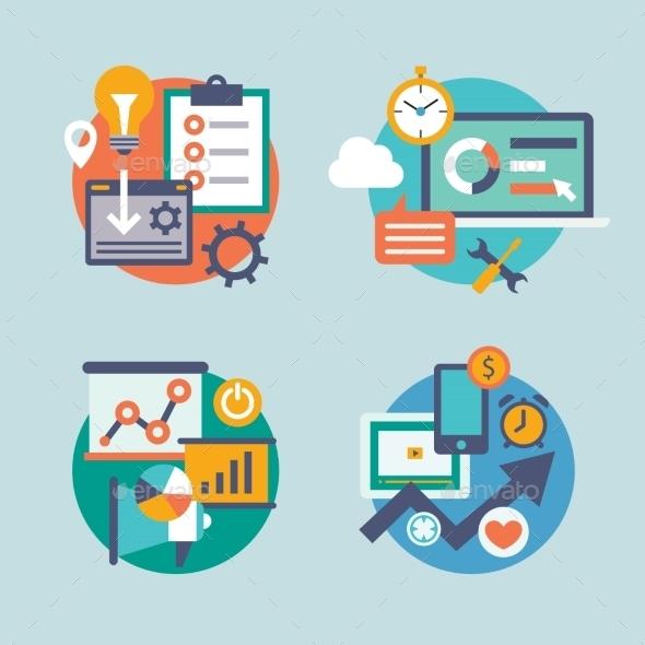 GraphicRiver Set Flat Design for Internet Marketing Promotion 10736595