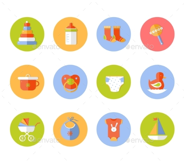GraphicRiver Vector Card With Colorful Baby Icons 10736642