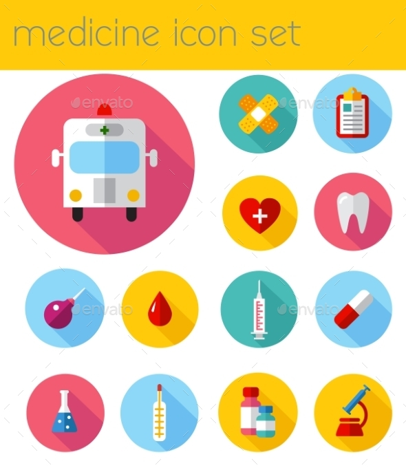 GraphicRiver Flat Health Care and Medical Research Icon Set 10736771