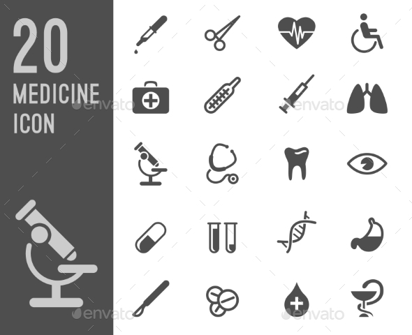 GraphicRiver Flat Health Care and Medical Research Icon Set 10736809