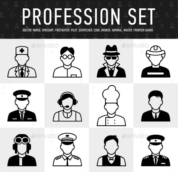 GraphicRiver Occupation Icons Mono Vector Symbols 10737081
