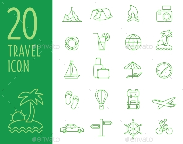 GraphicRiver Vector Travel Icons in Flat Simple Style 10737406