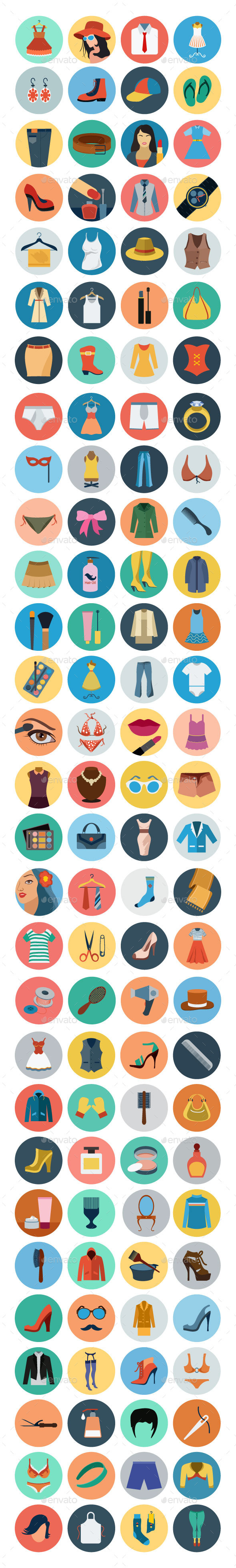 GraphicRiver 100& Fashion Flat Icons 10737487