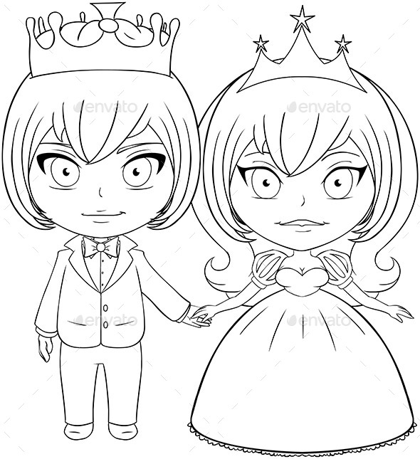 King And Queen Cartoon Drawing Anime Beautiful Black And