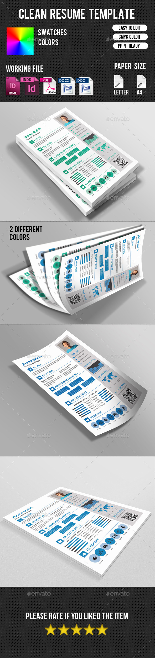 GraphicRiver Clean Resume Template-V15 10737665
