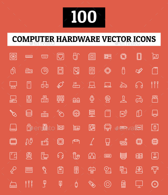 GraphicRiver 100 Computer Hardware Vector Icons 10737971