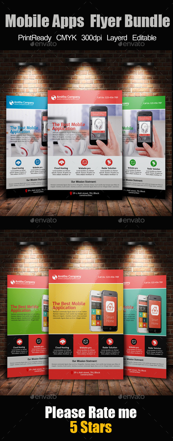 GraphicRiver Mobile Apps Promotion Flyer Template Bundle 10737999