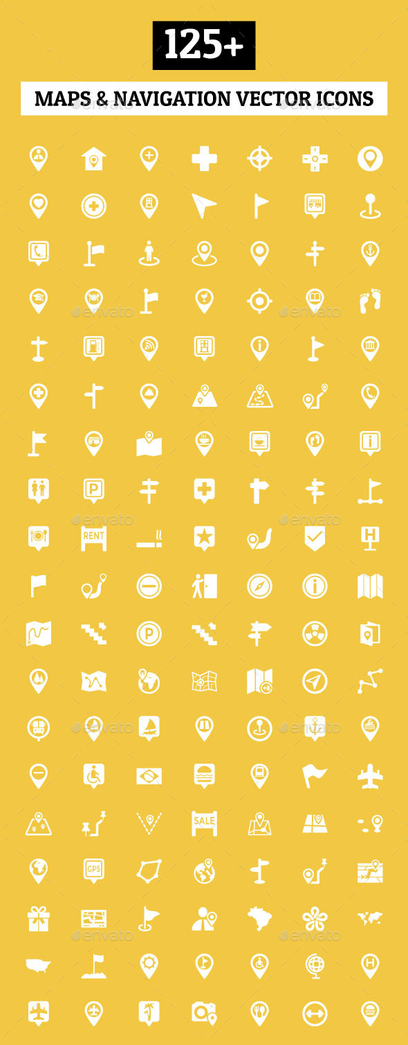 GraphicRiver 125& Maps and Navigation Vector Icon 10738002