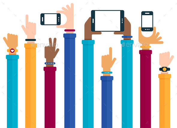 GraphicRiver Mobile Devices Hands Raised Concept 10738248