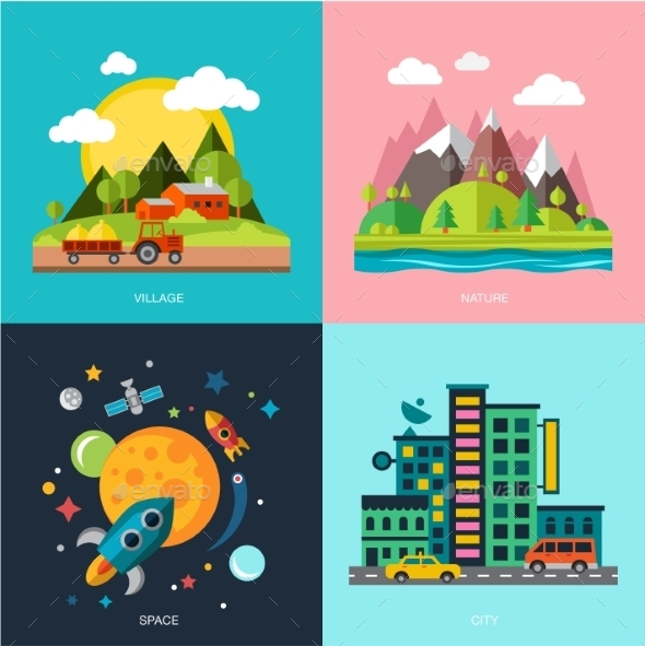 GraphicRiver Flat Design Landscape Illustration 10738283