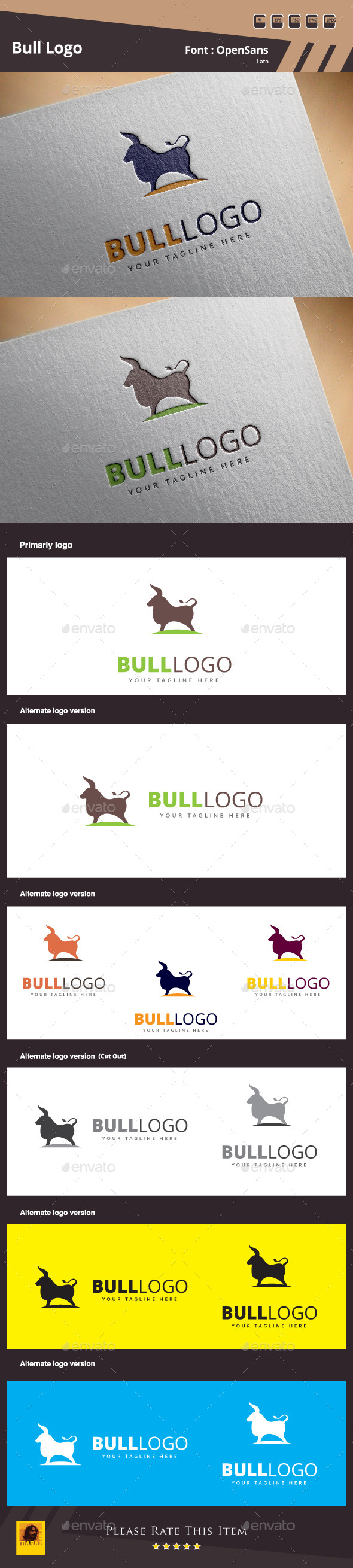 GraphicRiver Bull Logo Template 10738284
