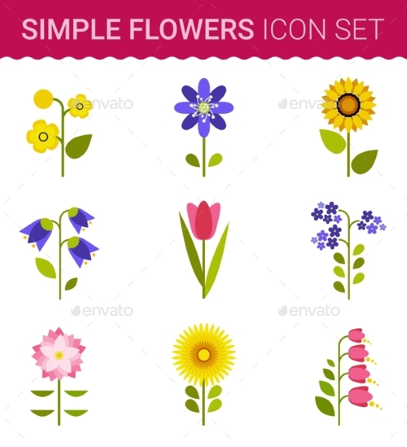 GraphicRiver Flowers Vector Design Set of Floral Icon 10738354