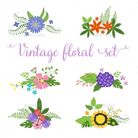 GraphicRiver Flowers Vector Design Set of Floral Icon 10738442