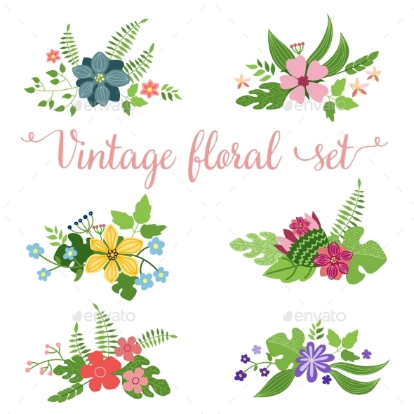 GraphicRiver Flowers Vector Design Set of Floral Icon 10738454