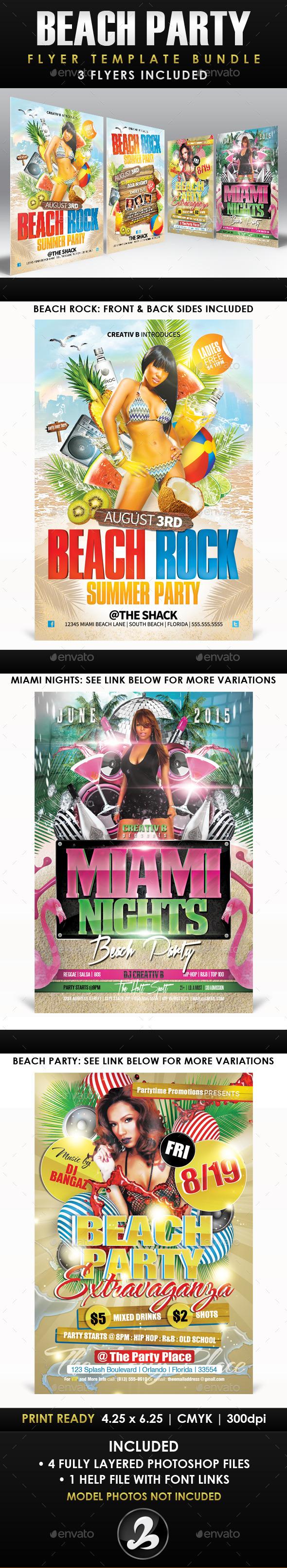 GraphicRiver Beach Party Flyer Template Bundle 10678531