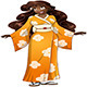 African Woman in Yellow Kimono - GraphicRiver Item for Sale