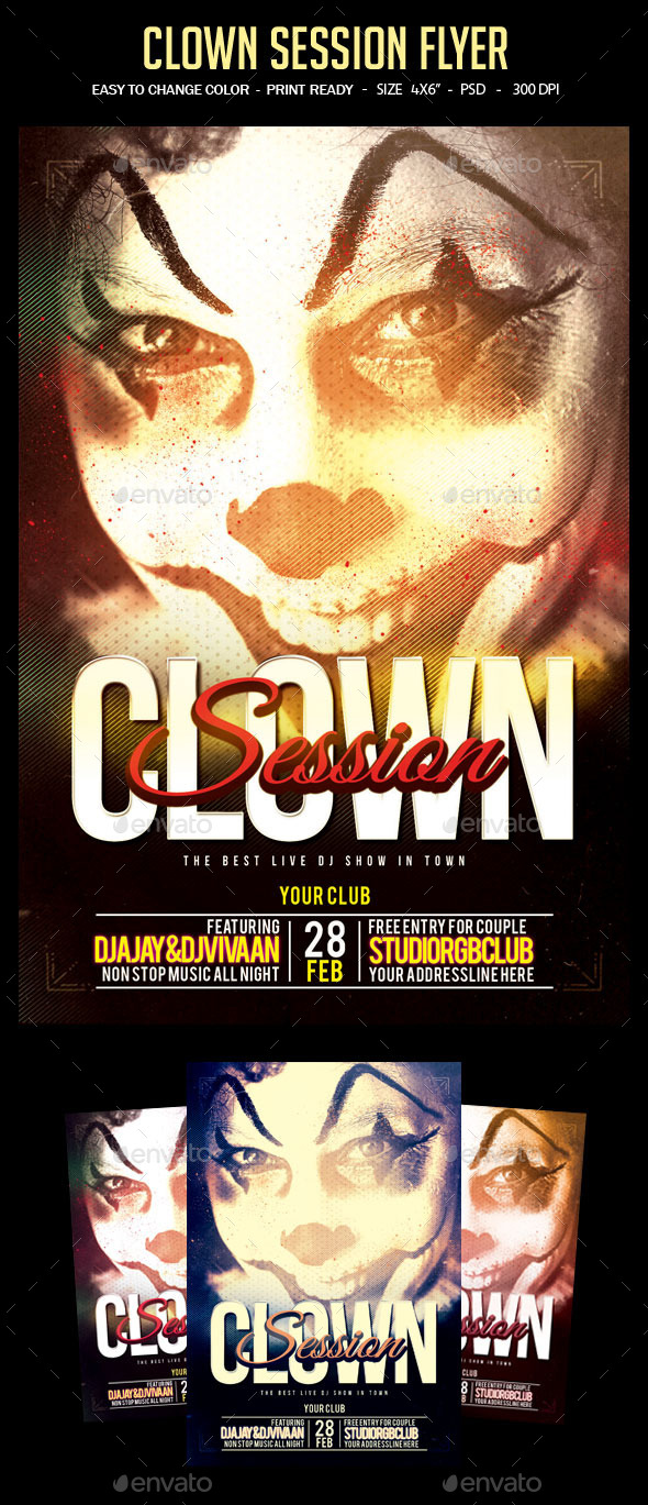 GraphicRiver Clown Session Flyer 10739153