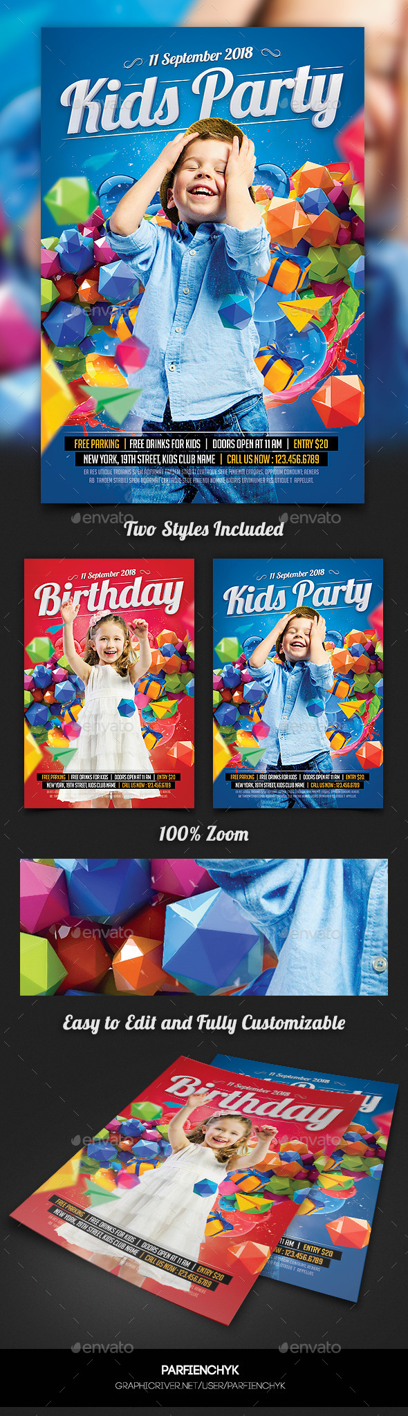 GraphicRiver Kids Birthday Party Flyer Template 10739458