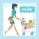 Mom with Baby and Shopping Cart - GraphicRiver Item for Sale