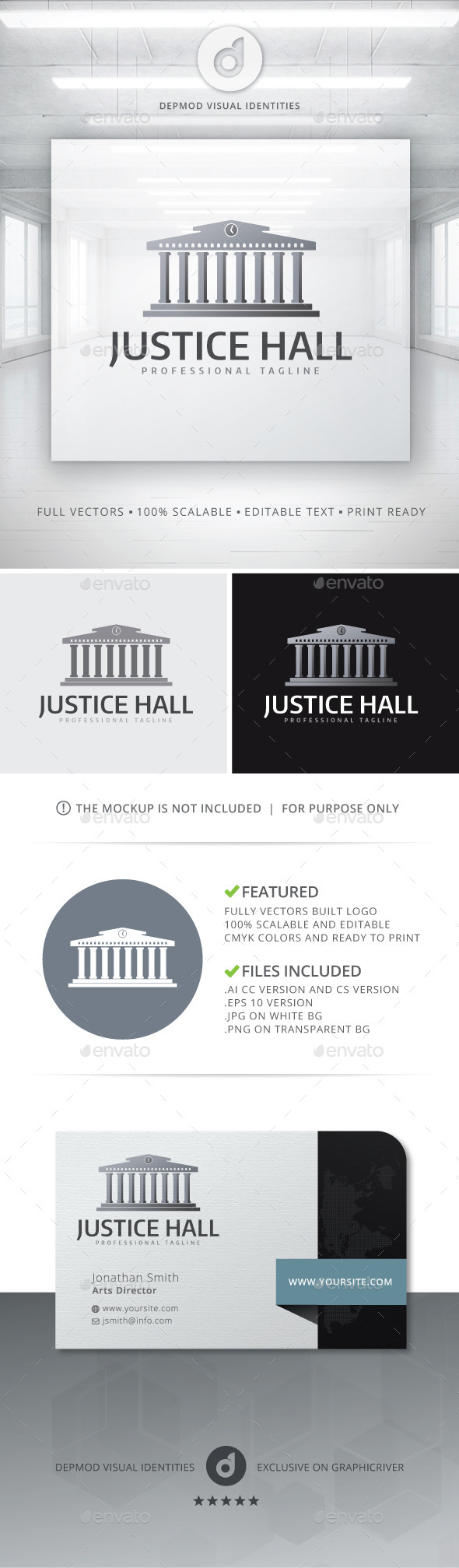 GraphicRiver Justice Hall Logo 10575791