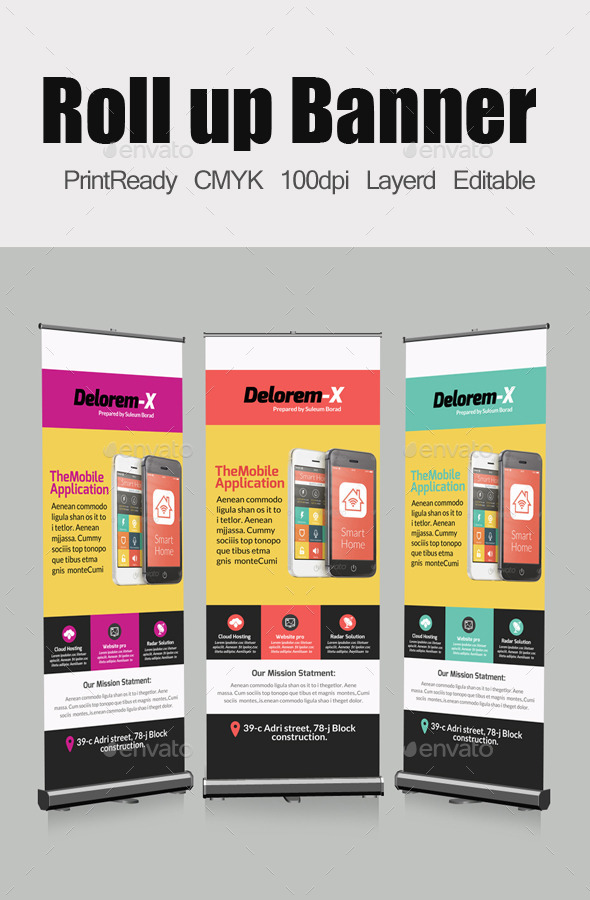 GraphicRiver Mobile App Business Roll Up Banners Template 10740497