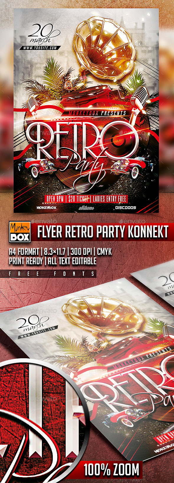 GraphicRiver Flyer Retro Party Konnekt 10740761