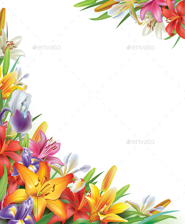 GraphicRiver Frame with Iris and Lilies Flowers 10740767