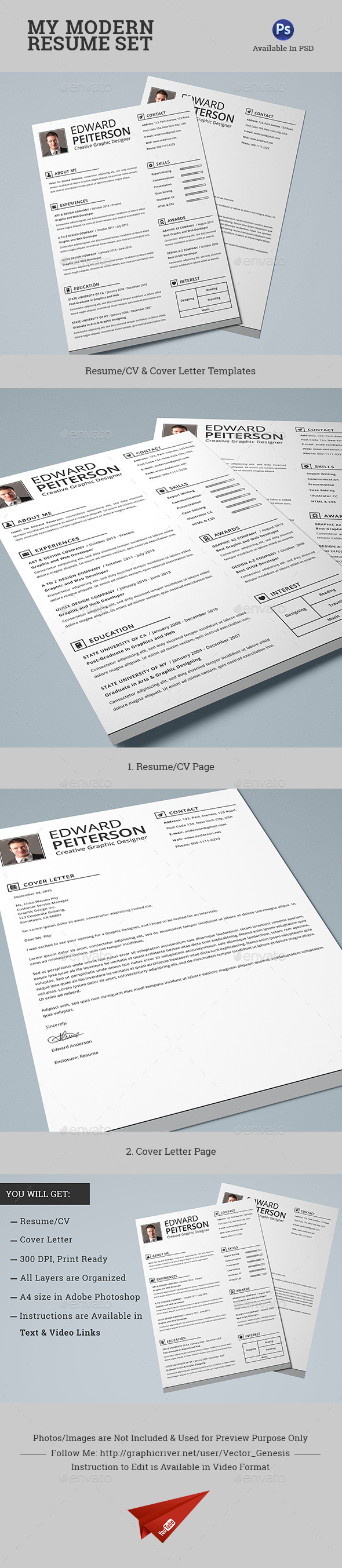 GraphicRiver 2 Pages Modern Resume CV Set 10740771