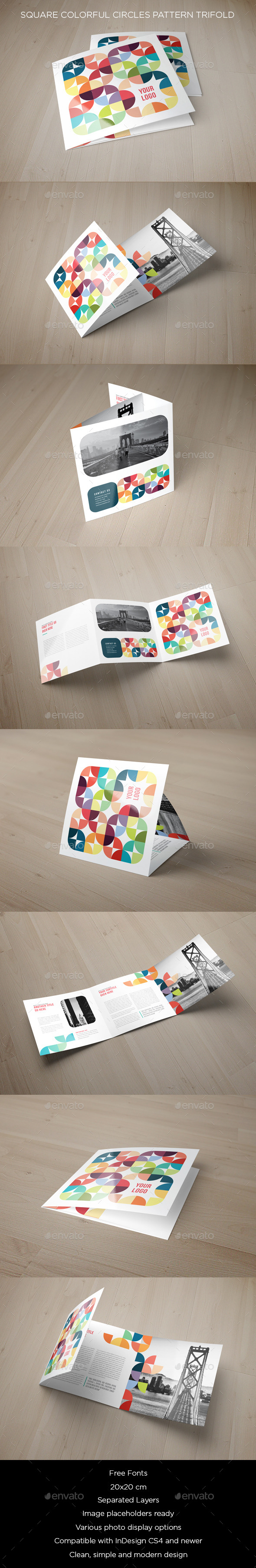 GraphicRiver Square Colorful Circles Pattern Trifold 10740784