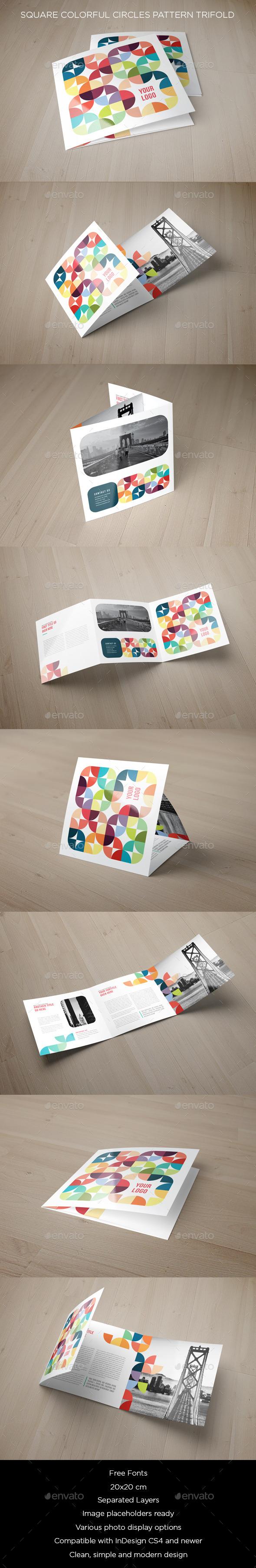 GraphicRiver Square Colorful Circles Pattern Trifold 10740784