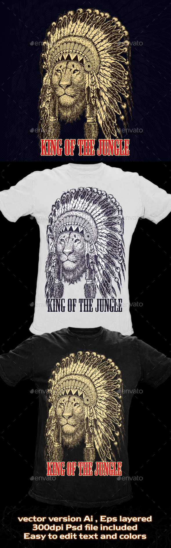 GraphicRiver T-shirt Illustration Lion Wearing Headdress 10741013