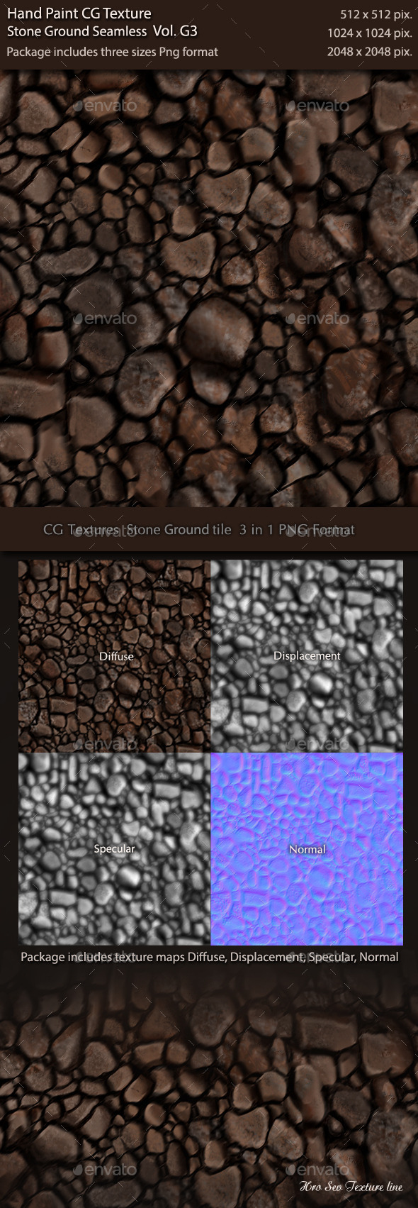 3DOcean Hand Paint CG Texture Stone Ground Tile G1 10741126