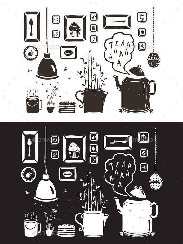 GraphicRiver Teapot Lamp Vase Kitchen Still Life Art Frames 10741229