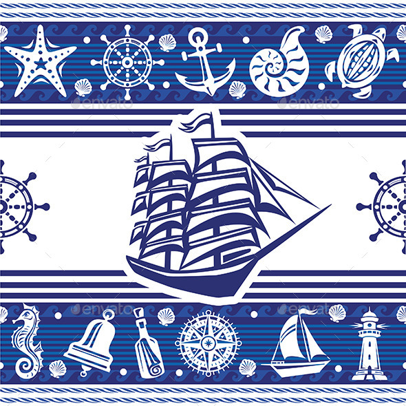 GraphicRiver Banners with Nautical Symbols 10741258