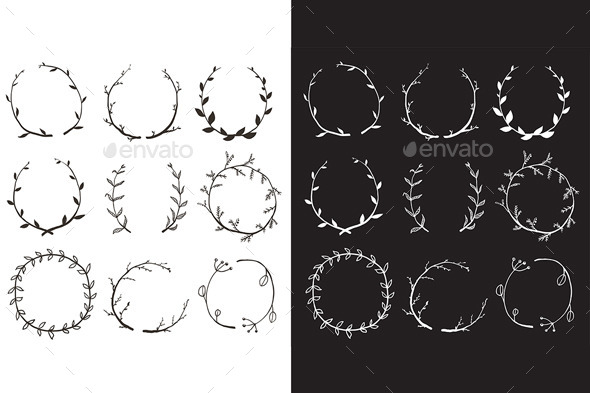 GraphicRiver Rustic Laurel and Wreath Collection for Design 10741260