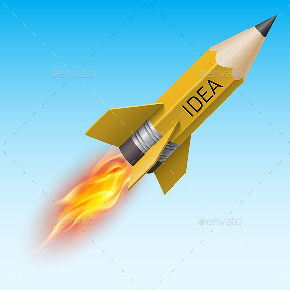 GraphicRiver Pencil as Rocket 10741325
