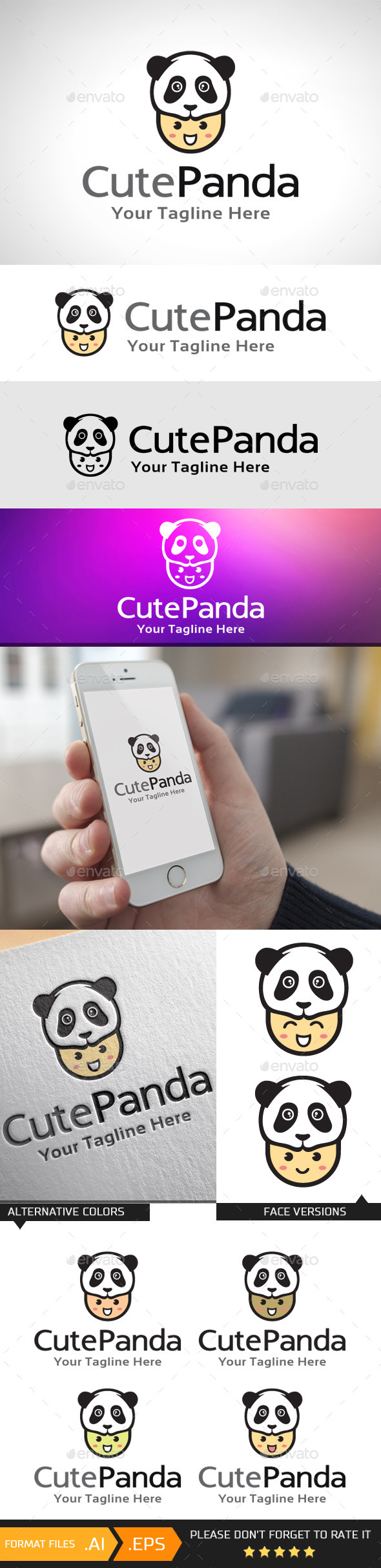 GraphicRiver Cute Panda Logo Template 10741465
