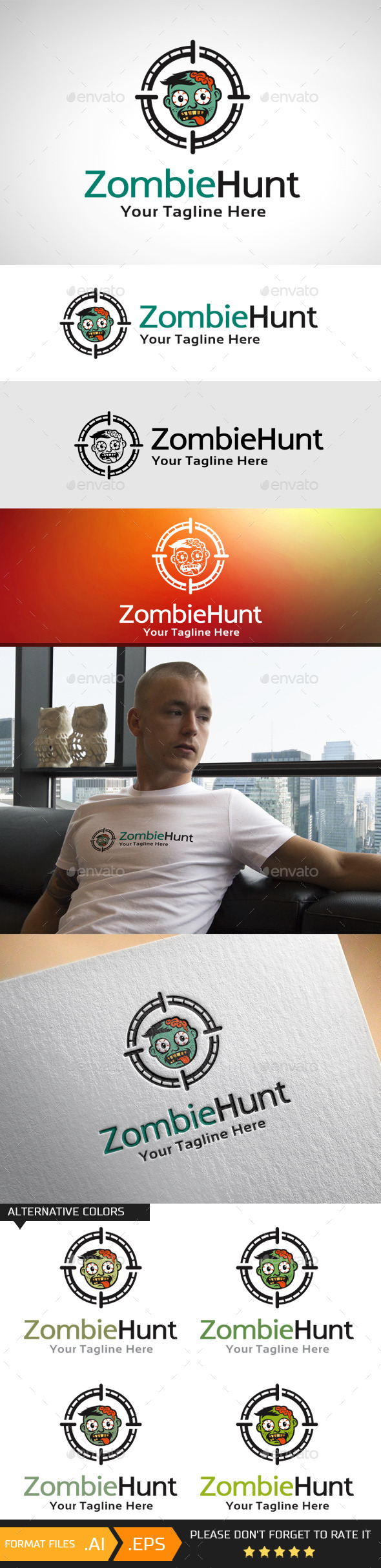 GraphicRiver Zombie Hunt Logo Template 10742052
