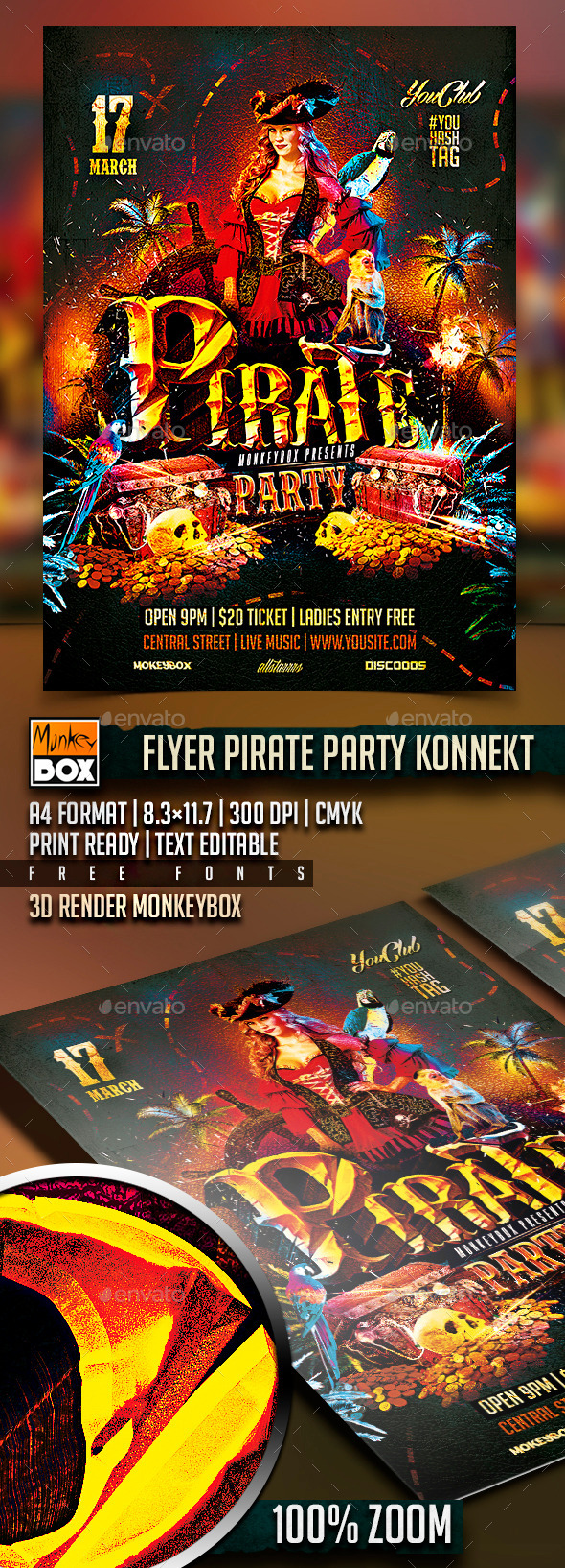 GraphicRiver Flyer Pirate Party Konnekt 10673862