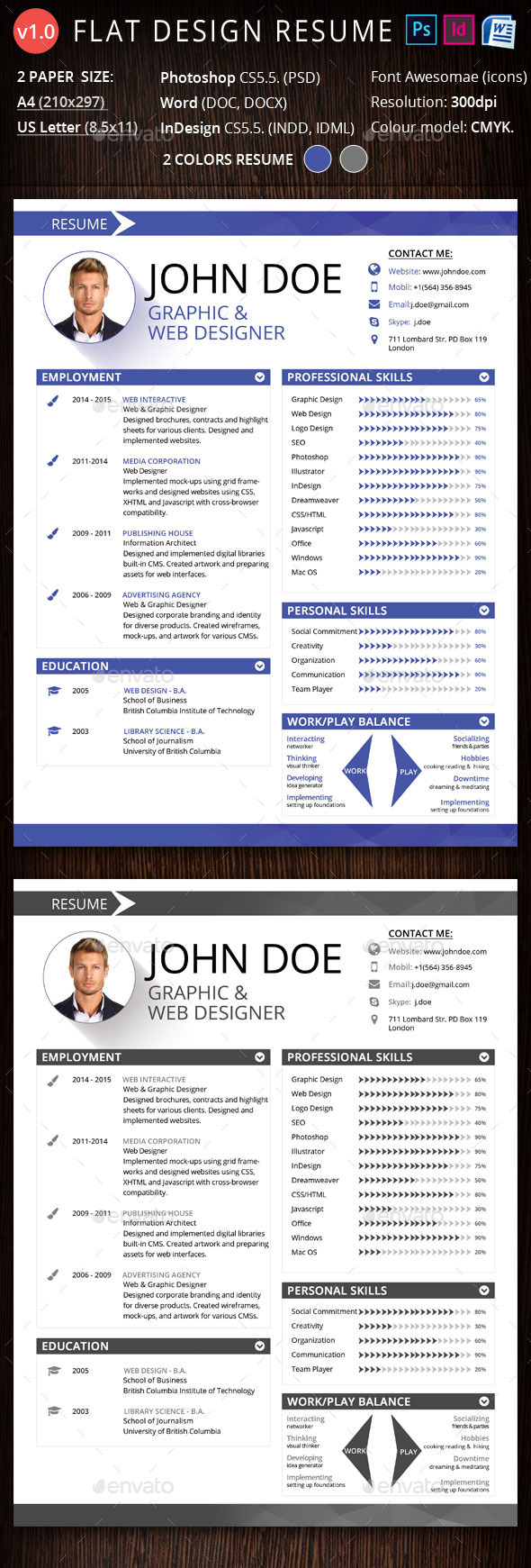 GraphicRiver Flat Design Resume 10742446